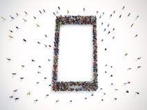 Mucha gente junto en una forma elegante del teléfono representación 3d ilustración del vector