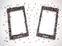 Mucha gente junto en una forma elegante del teléfono representación 3d stock de ilustración