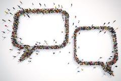 Mucha gente junto forma el texto de las burbujas representación 3d stock de ilustración