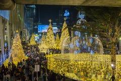 Mucha gente viene a tomar la imagen luz de la decoración de la Navidad y del Año Nuevo delante del mundo central Foto de archivo libre de regalías