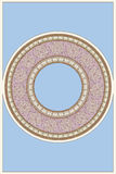 Mucha inspirou em volta do ornamento do mosaico no fundo azul ilustração stock