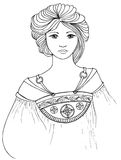 Mucha style lady vector. Black and white mucha style lady vector illustration Stock Images