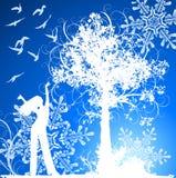 Muchacha, árbol, pájaros y copos de nieve stock de ilustración
