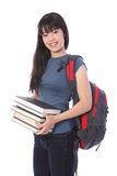 Muchacha étnica del estudiante universitario con los libros de la educación Imágenes de archivo libres de regalías
