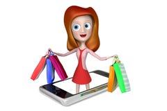 muchacha 3d en un teléfono con el bolso de compras Stock de ilustración