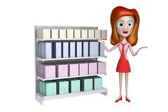 muchacha 3d que se coloca antes de estante de visualización con el regalo Fotos de archivo