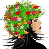 Muchacha abstracta con las flores en pelo Imagen de archivo