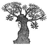 Muchacha abstracta con los cuernos de ramas Imágenes de archivo libres de regalías