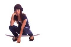 Muchacha aburrida del patinador Imagen de archivo