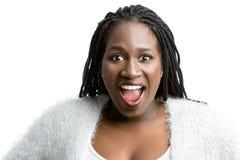 Muchacha adolescente africana con la expresión asombrosamente de la cara Fotografía de archivo libre de regalías