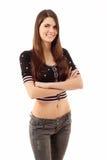 Muchacha adolescente alegre aislada en blanco Fotos de archivo libres de regalías