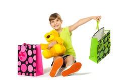 Muchacha adolescente alegre con los panieres Imágenes de archivo libres de regalías