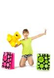 Muchacha adolescente alegre con los panieres Fotografía de archivo libre de regalías