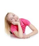 Muchacha adolescente alegre en una camisa rosada Foto de archivo