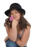 Muchacha adolescente asiática en sombrero negro Imagenes de archivo