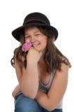 Muchacha adolescente asiática en sombrero negro Imagen de archivo libre de regalías