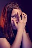 Muchacha adolescente asustada Fotos de archivo