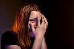 Muchacha adolescente asustada Imagen de archivo