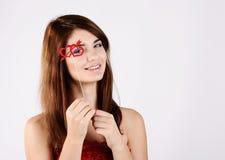Muchacha adolescente blanda con el corazón Imagen de archivo libre de regalías