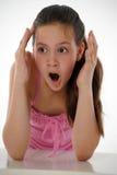 Muchacha adolescente chocada Fotografía de archivo