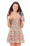 Muchacha adolescente con agua Imágenes de archivo libres de regalías