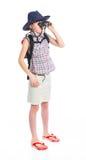 Muchacha adolescente con binocular Foto de archivo libre de regalías