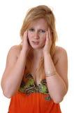Muchacha adolescente con dolor de cabeza. Imagenes de archivo