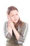 Muchacha adolescente con dolor de oídos Imágenes de archivo libres de regalías