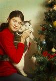 Muchacha adolescente con el abrazo del gato por el árbol de navidad Imágenes de archivo libres de regalías