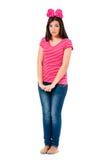 Muchacha adolescente con el arco rojo Fotos de archivo