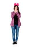 Muchacha adolescente con el arco rojo Imagen de archivo