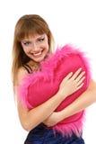 Muchacha adolescente con el corazón del rosa de la tarjeta del día de San Valentín Foto de archivo libre de regalías