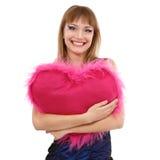 Muchacha adolescente con el corazón del rosa de la tarjeta del día de San Valentín Imagen de archivo