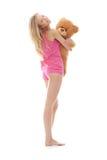 Muchacha adolescente con el oso de peluche Imagen de archivo