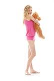 Muchacha adolescente con el oso de peluche Foto de archivo libre de regalías
