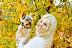 Muchacha adolescente con el pequeño perro Foto de archivo