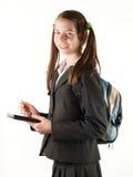 Muchacha adolescente con el programa de lectura electrónico del libro aislado encendido Fotografía de archivo libre de regalías