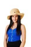 Muchacha adolescente con el sombrero de paja. Fotos de archivo libres de regalías