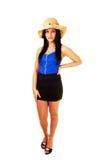 Muchacha adolescente con el sombrero de paja. Imagen de archivo libre de regalías