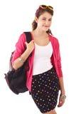 Muchacha adolescente con el suéter y el morral rosados Fotos de archivo