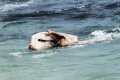 Muchacha adolescente con el tablero de paleta en olas oceánicas en lado debajo del agua Foto de archivo