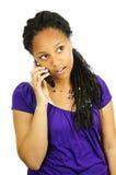 Muchacha adolescente con el teléfono móvil Foto de archivo libre de regalías