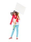 Muchacha adolescente con la bandera Fotos de archivo