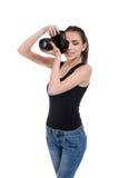 Muchacha adolescente con la cámara de la foto Fotos de archivo libres de regalías