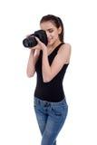 Muchacha adolescente con la cámara de la foto Foto de archivo