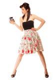 Muchacha adolescente con la cámara vieja Imagenes de archivo
