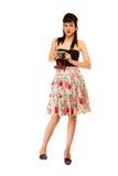 Muchacha adolescente con la cámara vieja Imagen de archivo