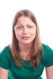 Muchacha adolescente con la cara triste Fotografía de archivo libre de regalías