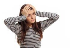 Muchacha adolescente con la depresión del dolor de cabeza del problema Fotografía de archivo libre de regalías