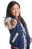 Muchacha adolescente con la energía que desgasta la chaqueta de la High School secundaria Foto de archivo libre de regalías